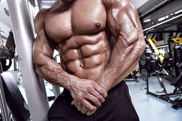 Strong Athletic Man Fitness Model Torso showing abdominal six pack