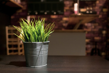 Small artificial green plants in zinc metal flower vase decoration in the restaurant or in the living room with lighting at night