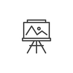 Easel with painting outline icon. linear style sign for mobile concept and web design. Landscape picture simple line vector icon. Symbol, logo illustration. Pixel perfect vector graphics