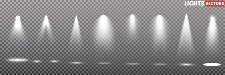 Wall Mural - Vector light sources, concert lighting, steel floodlights. Concert spotlight with a beam.