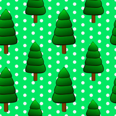 Vector illustration, soft seamless pattern in vintage style, beautiful cartoon fir christmas tree on green dotted background