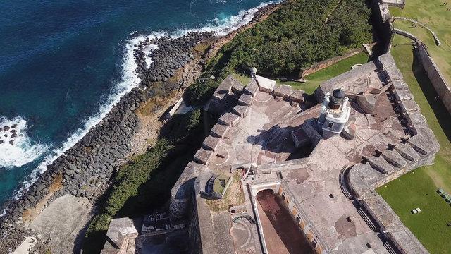 Aerial overhead closeup view of El Morro fortress in San Juan, Puerto Rico.