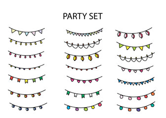 Party set with different garlands