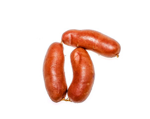Juicy Sausages on a white background