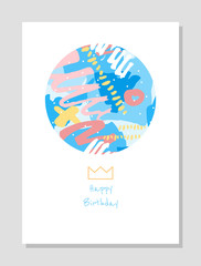 Hand drawn creative universal freehand greeting card template. Abstract scribbles doodles beautiful colors. Birthday, wedding, party, social media banner template. Isolated vector card template.