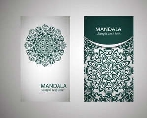 Set of flyer, leaflets, brochures, templates design. Vintage card with patterns and designs of the mandala. Floral ornaments in Eastern style. Islam, Arabic, Indian, Ottoman motifs.