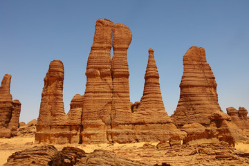 Landscape of the desert region of the Sahara in Ennedi surroundings in north Chad