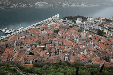 The bay and the old town of Kotor is seen from a hill in Montenegro