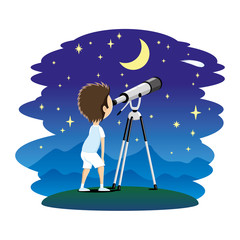 Child observes the stars in a telescope.