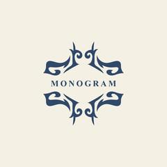 Monogram design elements, graceful template. Abstract form. Calligraphic elegant line art logo design. Emblem sign for Royalty, business card, Boutique, Hotel, Restaurant. Vector illustration