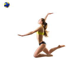 Woman beach volleyball player (with ball version)
