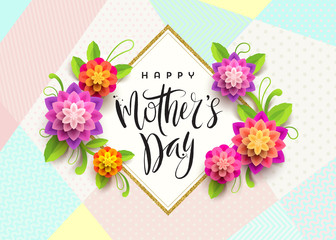 Happy mother's day - Greeting card. Brush calligraphy greeting and flowers. Vector illustration.
