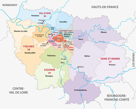 new ile de france administrative and political vector map