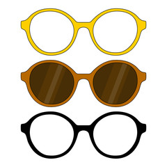 Set of glasses, glasses frames, round form, sunglasses, dark brown glasses with glare, yellow orange black, stylized simple drawing, colored and black and white, Isolated object, White background