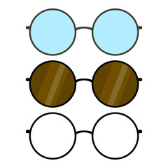 Set of glasses, glasses frames, round form, sunglasses, dark brown glasses with glare, transparent glasses, black, stylized simple drawing, colored black and white, Isolated object, White background