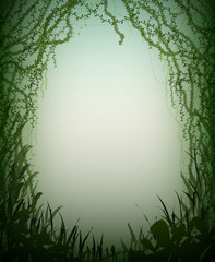 green thicket rainforest cave, deep fairy forest silhouette,