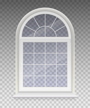 Closed arched window with transparent glass in a white frame. Isolated on a transparent background. Vector