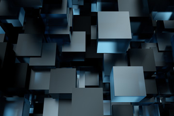 Abstract 3d rendering of chaotic cubes. Flying shapes in empty space. Futuristic background