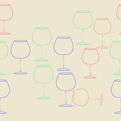 Wineglass  seamless  horizntal  pattern . Hand drawn.