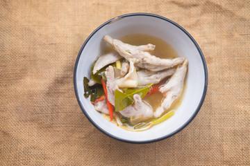 Chicken feet Thai hot soup tom yam