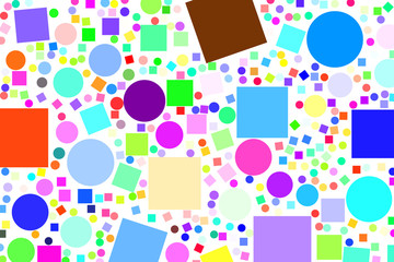 Abstract colored ellipse & square box shape pattern. Canvas, background, backdrop & style.