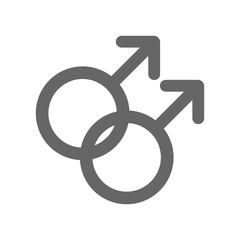 Male homosexuality symbol. Gay glyph. Doubled male sign. Vector icon.