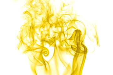 Yellow smoke on white background
