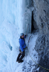 ice climbing in the Alps oif Switzerland