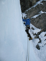 ice climbing in the Swiss Alps in the Sertig Valley near Davos