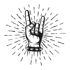 Heavy metal horns hand gesture stamp with rays
