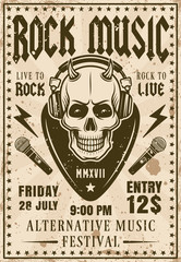 Rock music festival invitation vintage poster