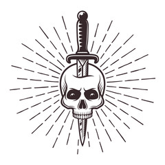 Knife in skull tattoo print with rays illustration