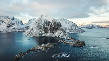 Bird Eye View of Hamnoy Village, Lofoten Island , Norway / One of the most iconic place in Nordland