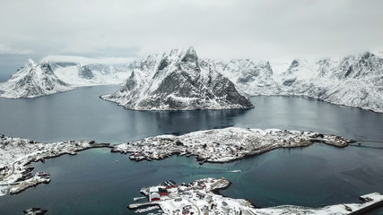 Bird Eye View of Reine village one of the  most beautiful village in Norway / Bird Eye view concept / Drone Photography
