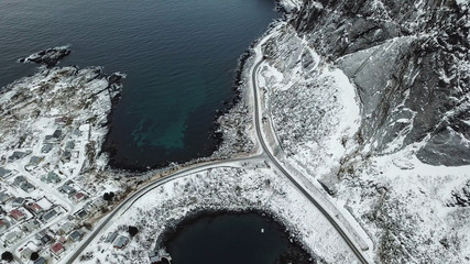 Top View of Reine village highway with the road between the sea / Top View concept / Landscape  Photography