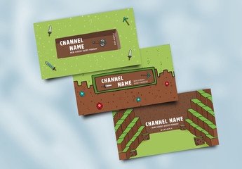 3 Social Media Banner Layouts with Video Game Theme