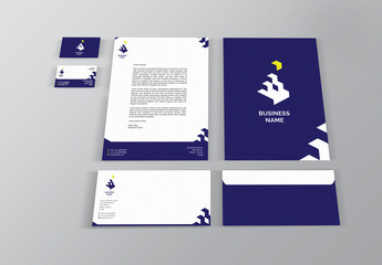 Blue and White Branded Stationery Set