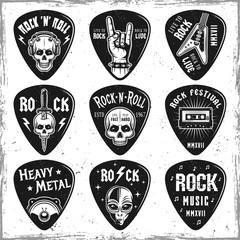 Guitar picks or mediators vector elements