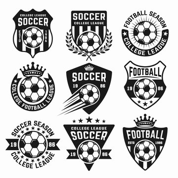 Soccer set of black vector emblems or logos
