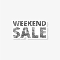 Weekend Sale Sign sticker, simple vector icon