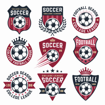 Football vector collection of nine colored emblems