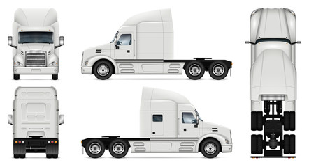 Truck vector mock-up. Isolated template of lorry on white background. Vehicle branding mockup. Side, front, back, top view. All elements in the groups on separate layers, easy to edit and recolor.