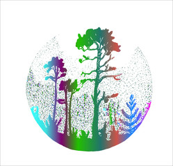 Neon illustration of a misty forest. Trees and plants in the fog.