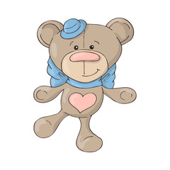 Cartoon cute teddy bear in a hat with a blue bow.