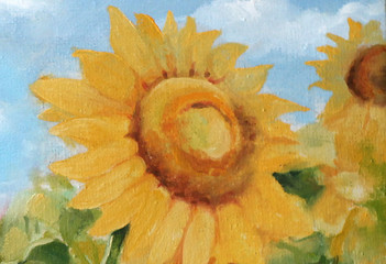 Sunflowers painted on canvas. Painting of flowering plants.