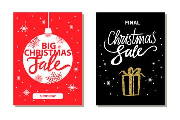 Shop Now Big Christmas Sale Vector Illustration