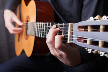 Close up of an guitar being played