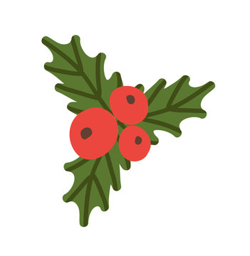Red Berries and Green Leaves Vector Illustration