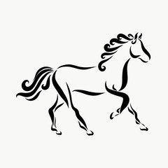 Running horse with a wavy mane
