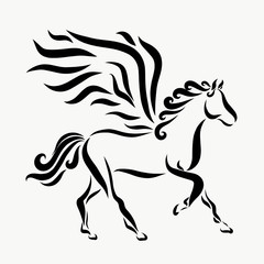 A running winged horse, smooth black lines and curls